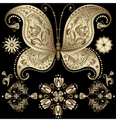 Gold vintage butterfly vector
