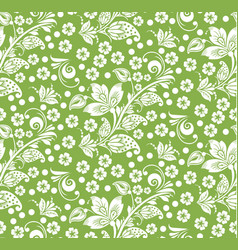 Greenery hohloma style flower seamless pattern vector