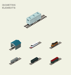 Isometric train set of carbon railway container vector