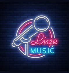 Live musical neon logo sign emblem vector