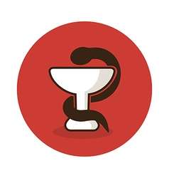 Medicine icon - snake on cup medical vector