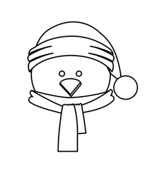Monochrome contour of chicken face with scarf and vector