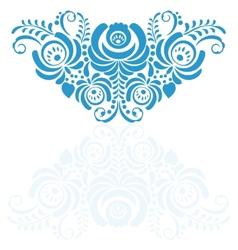 Ornate elegant floral frame in Gzhel style vector image