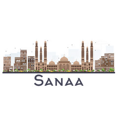 Sanaa yemen city skyline with color buildings vector