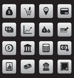 set of 16 editable banking icons includes symbols vector image vector image