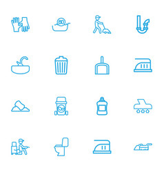 set of 16 editable hygiene outline icons includes vector image