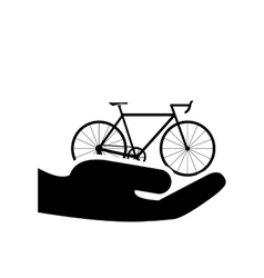 Sheltering hands and bike icon vector