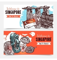 Singapore Hand Drawn Sketch Banners vector image