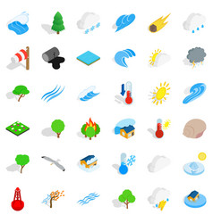 Surrounding space icons set isometric style vector