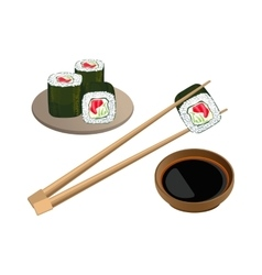 Sushi with salmon in chopsticks above bowl and soy vector