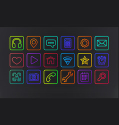 Technology icons and signs in modern neon vector
