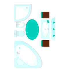 Top view bathroom interior element vector