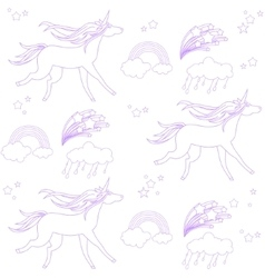 Unicorns are depicted in the style of school vector image vector image