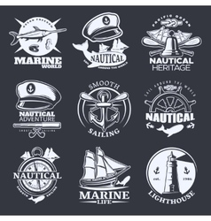 Nautical emblem set on black vector