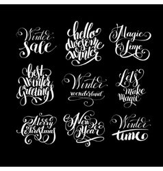 Set of winter black and white handwritten vector
