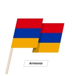Armenia ribbon waving flag isolated on white vector