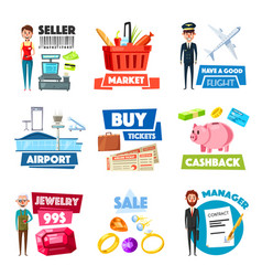 Items of selling jewelry finance industry vector