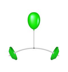 Green balloon lifting a heavy barbell vector