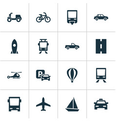 transportation icons set collection of way road vector image