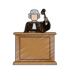 Color blurred stripe of faceless judge in law vector
