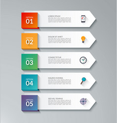 Infographic arrow template with 5 options vector