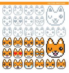 Fox pixel emoticons vector