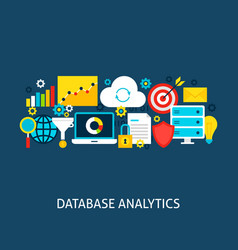 Database analytics flat concept vector