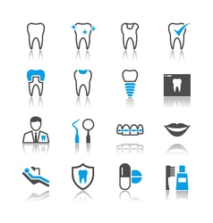 Dental icons reflection vector image