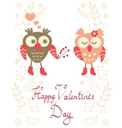 Valentines day card with owls vector