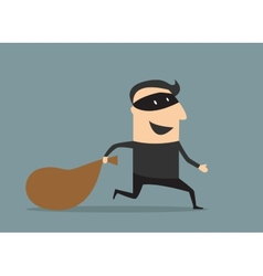 Cartoon thief in mask with sack vector image