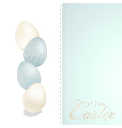 Easter blue and white speckled eggs and panel vector