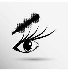 Brushes mascara and mascara brush makeup eye vector