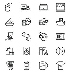 Media and advertisement line icons 5 vector