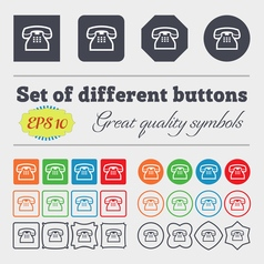 Retro telephone handset icon sign big set of vector