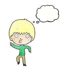 Cartoon impressed boy pointing with thought bubble vector