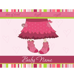 Pink baby girl arrival announcement card with funn vector