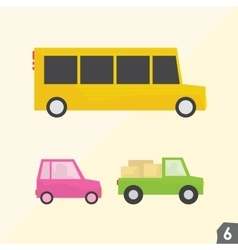 School bus pink car and pickup truck vector