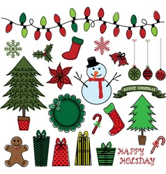 Retro christmas doodles set vector