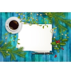 Christmas top view background vector