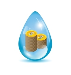 Dollar coins in a water drop vector