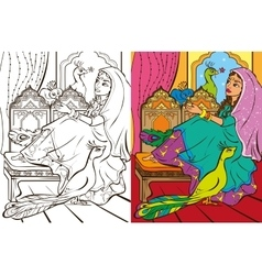Colouring book of easten princess vector