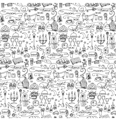 Hand drawn evening seamless pattern vector