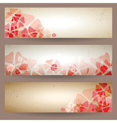 Set of retro floral banners vector