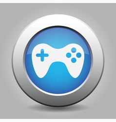 Blue metal button with gamepad vector