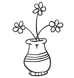 black and white pot with flowers vector image