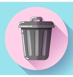 Trash can icon recycle bin garbage flat vector