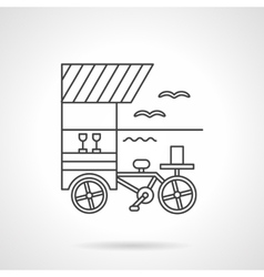 Beverages cart flat line design icon vector