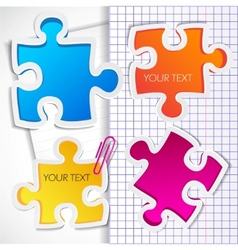 colorful puzzles with space for text vector image vector image