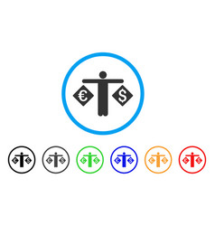 Currency trader rounded icon vector