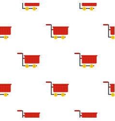 Empty red plastic shopping trolley pattern flat vector